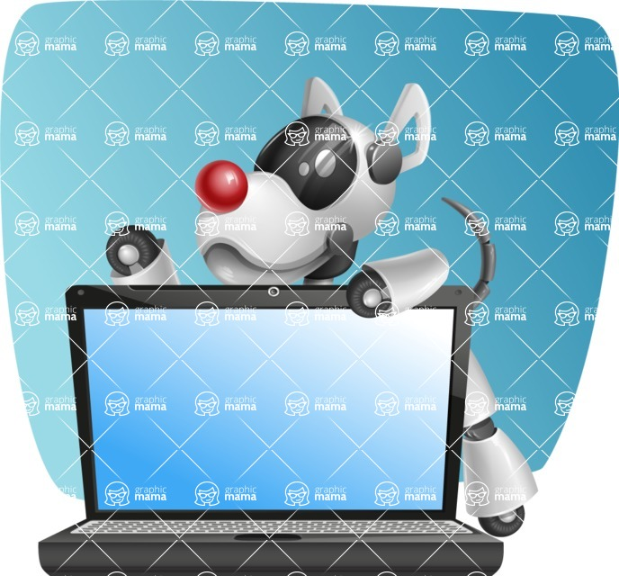Artificial Intelligence Robot Dog Cartoon Vector Character AKA HERB - Shape5