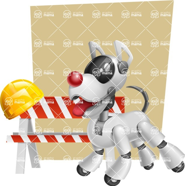Artificial Intelligence Robot Dog Cartoon Vector Character AKA HERB - Shape6