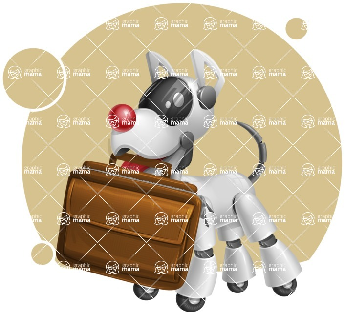 Artificial Intelligence Robot Dog Cartoon Vector Character AKA HERB - Shape8