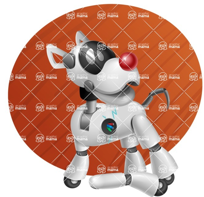 Artificial Intelligence Robot Dog Cartoon Vector Character AKA HERB - Shape9