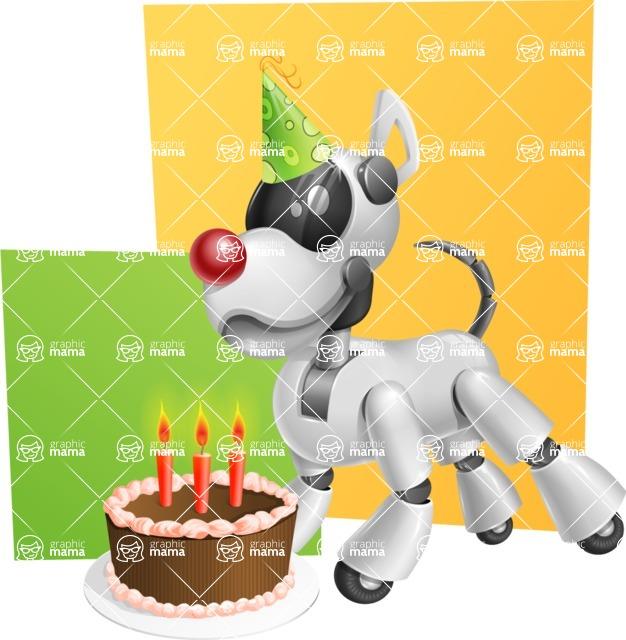 Artificial Intelligence Robot Dog Cartoon Vector Character AKA HERB - Shape10