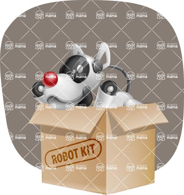 Artificial Intelligence Robot Dog Cartoon Vector Character AKA HERB - Shape11