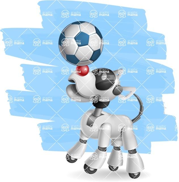 Artificial Intelligence Robot Dog Cartoon Vector Character AKA HERB - Shape12