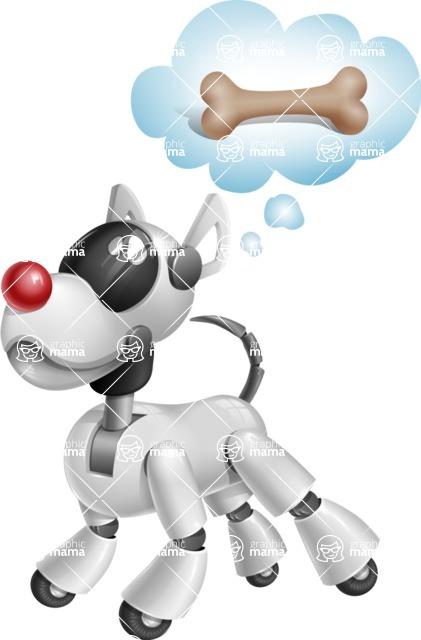 Artificial Intelligence Robot Dog Cartoon Vector Character AKA HERB - Bone 2