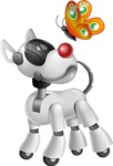 Artificial Intelligence Robot Dog Cartoon Vector Character AKA HERB - Butterfly