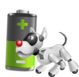 Artificial Intelligence Robot Dog Cartoon Vector Character AKA HERB - Battery
