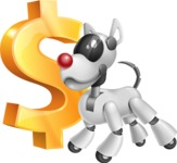 Artificial Intelligence Robot Dog Cartoon Vector Character AKA HERB - Dollar