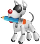 Artificial Intelligence Robot Dog Cartoon Vector Character AKA HERB - Pencil