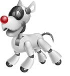 Artificial Intelligence Robot Dog Cartoon Vector Character AKA HERB - Sad