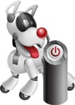 Artificial Intelligence Robot Dog Cartoon Vector Character AKA HERB - Power Button