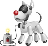 Artificial Intelligence Robot Dog Cartoon Vector Character AKA HERB - Charging