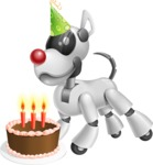 Artificial Intelligence Robot Dog Cartoon Vector Character AKA HERB - Birthday