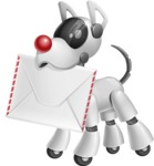 Artificial Intelligence Robot Dog Cartoon Vector Character AKA HERB - Dog Postman