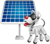 Artificial Intelligence Robot Dog Cartoon Vector Character AKA HERB - Solar Panel