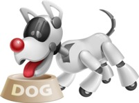 Artificial Intelligence Robot Dog Cartoon Vector Character AKA HERB - Doggy Dish