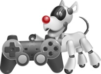Artificial Intelligence Robot Dog Cartoon Vector Character AKA HERB - Game