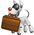 Artificial Intelligence Robot Dog Cartoon Vector Character AKA HERB - Briefcase