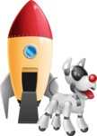 Artificial Intelligence Robot Dog Cartoon Vector Character AKA HERB - Rocket