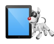 Artificial Intelligence Robot Dog Cartoon Vector Character AKA HERB - iPad 1