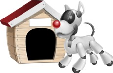 Artificial Intelligence Robot Dog Cartoon Vector Character AKA HERB - Doggy House
