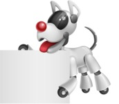 Artificial Intelligence Robot Dog Cartoon Vector Character AKA HERB - Sign 3