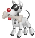 Artificial Intelligence Robot Dog Cartoon Vector Character AKA HERB - Bone 1