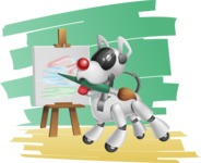 Artificial Intelligence Robot Dog Cartoon Vector Character AKA HERB - Shape7