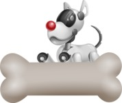 Artificial Intelligence Robot Dog Cartoon Vector Character AKA HERB - Bone 3