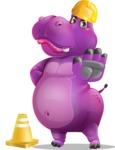 Purple Hippo Cartoon Character - as a Construction worker