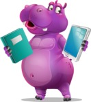 Purple Hippo Cartoon Character - Choosing between Book and Tablet