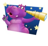 Purple Hippo Cartoon Character - Dreaming Big with Skies Background