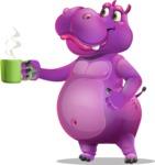 Purple Hippo Cartoon Character - Drinking Coffee