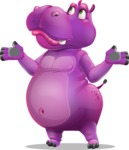 Purple Hippo Cartoon Character - Feeling Confused