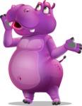 Purple Hippo Cartoon Character - Feeling Lost