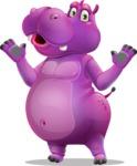 Purple Hippo Cartoon Character - Feeling Shocked