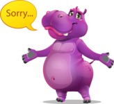 Purple Hippo Cartoon Character - Feeling sorry