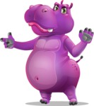 Purple Hippo Cartoon Character - Finger pointing with angry face