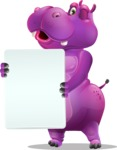 Purple Hippo Cartoon Character - Holding a Blank banner