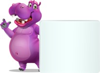 Purple Hippo Cartoon Character - Holding a Blank sign and Pointing
