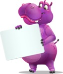 Purple Hippo Cartoon Character - Holding a Blank sign