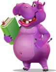 Purple Hippo Cartoon Character - Holding a book