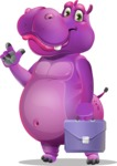 Purple Hippo Cartoon Character - Holding a briefcase