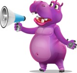 Purple Hippo Cartoon Character - Holding a Loudspeaker
