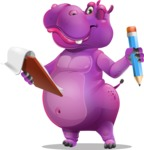 Purple Hippo Cartoon Character - Holding a notepad with pencil