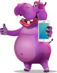 Purple Hippo Cartoon Character - Holding a smartphone