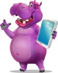 Purple Hippo Cartoon Character - Holding an iPad