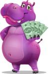 Purple Hippo Cartoon Character - Holding Cash Money