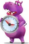 Purple Hippo Cartoon Character - Holding clock