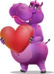Purple Hippo Cartoon Character - Holding heart