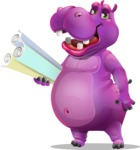 Purple Hippo Cartoon Character - Holding Plans
